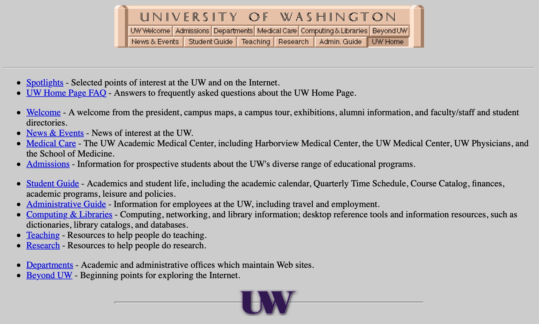 University of Washington Home Page in 1997